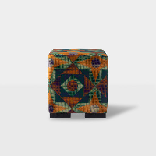 Front view - Orange square & triangle print mix ottoman pouf