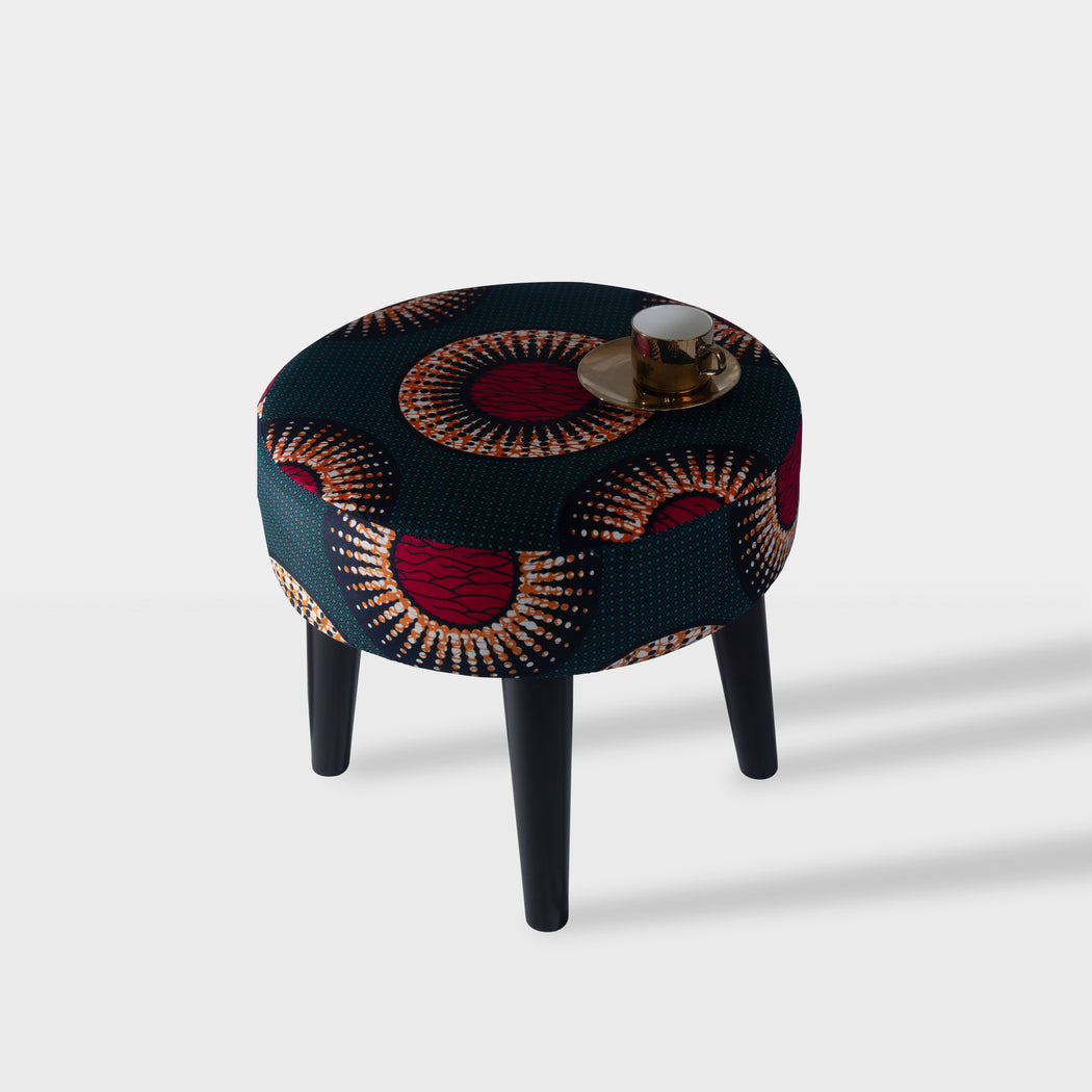 Circle design beech wood side table - top view