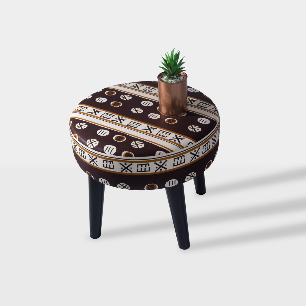 tribal pattern design beech wood side table - top view