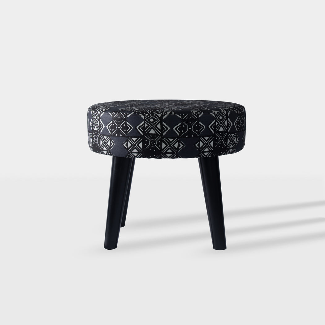 tribal grey and black pattern beech wood side table