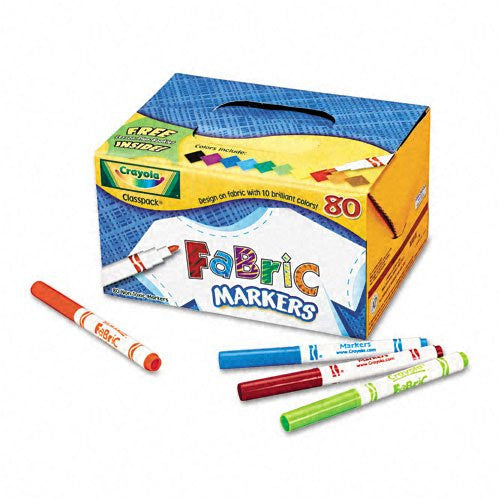 Crayola Fabric Markers in 10 Colors, 80 Count Classpack