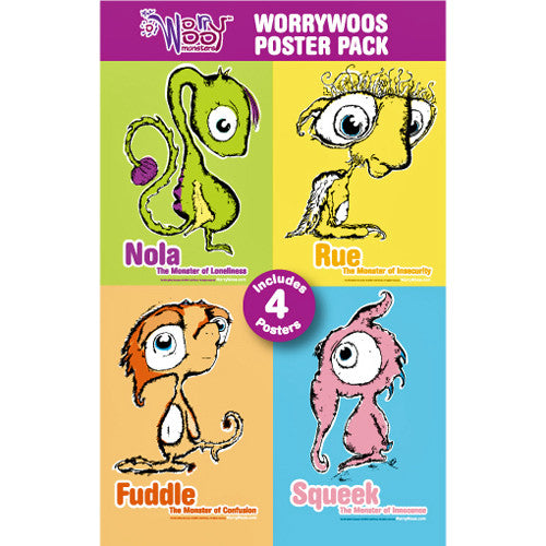 Four WorryWoo Posters - Nola, Rue, Squeek, & Fuddle