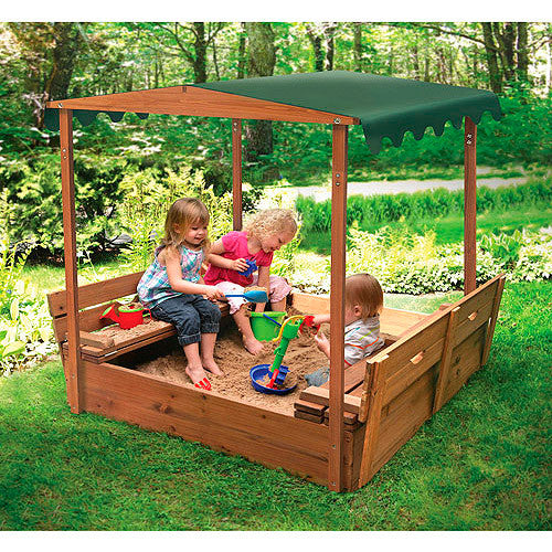 Covered Convertible Cedar Sandbox w/Canopy and Two Bench Seats