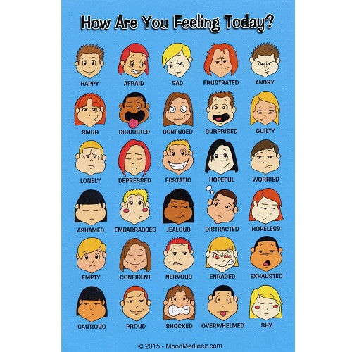 Mini Feelings Poster, with Colored Graphics - Set of 12