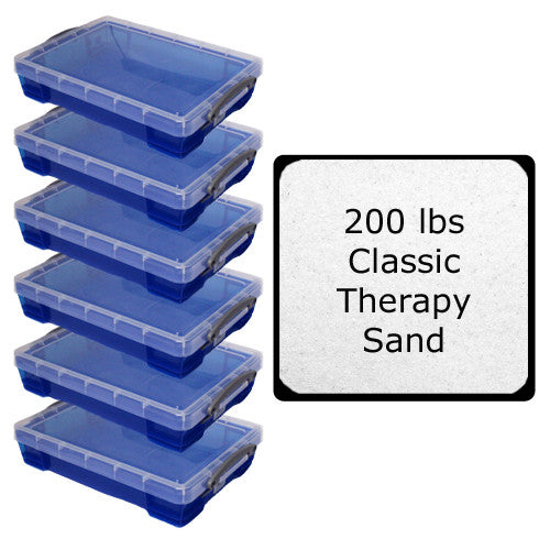 Six Extra Large 20 Liter Sand Trays and 200 lbs Classic Therapy Sand Classpack