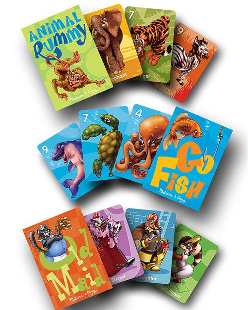 Classic Card Game Set (Animal Rummy, Go Fish, & Old Maid)