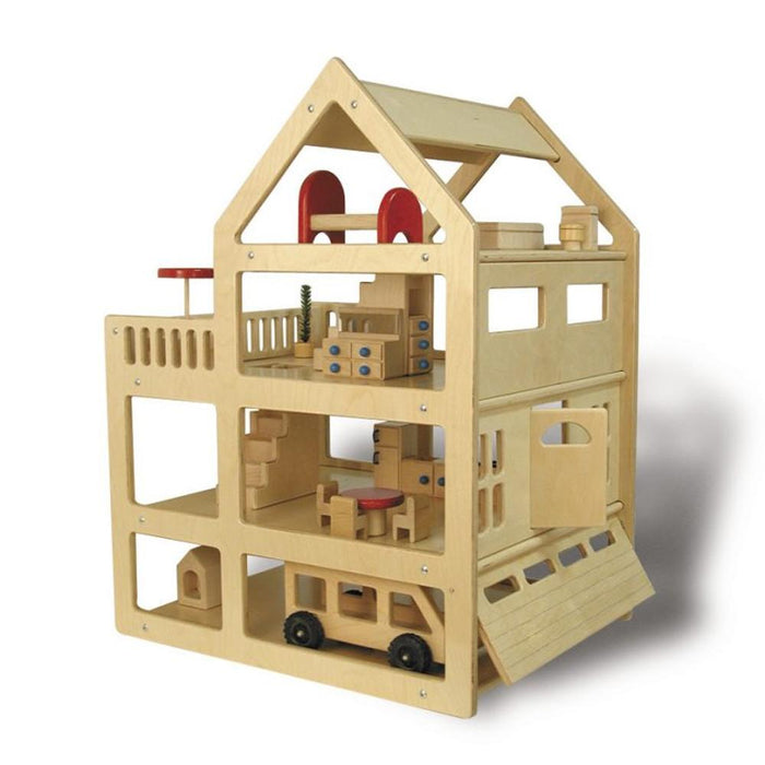 Extra Large Family Dollhouse Set  (House, Furniture, 4 Family Sets)
