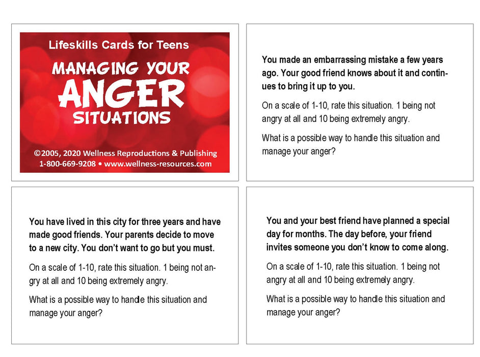 Lifeskills Cards for Teens: Managing Your Anger Situations