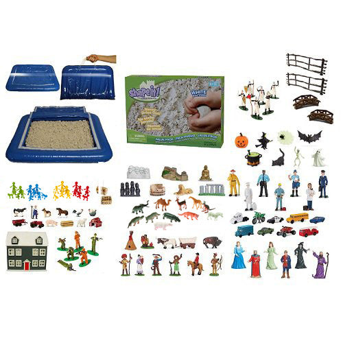 Sand Play Starter Set with Inflatable Tray & 5 lb Shape-It (Moon) Sand