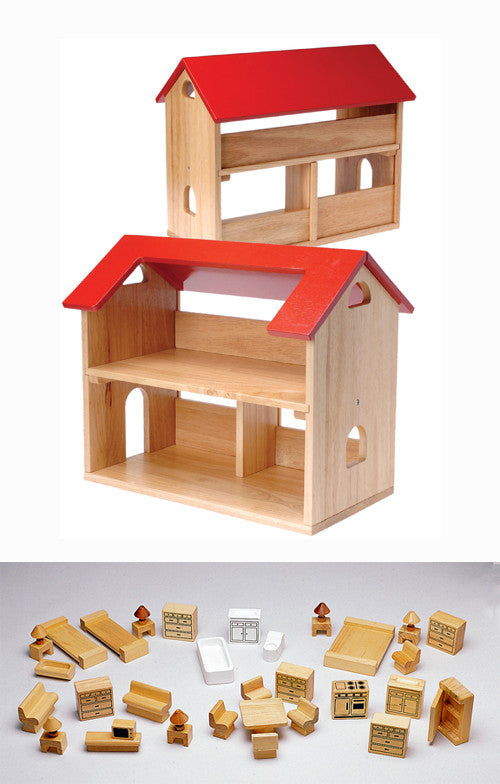 Sturdy Play House & Hardwood Furniture Set