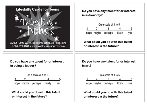 Lifeskills Cards for Teens: Talents & Interests