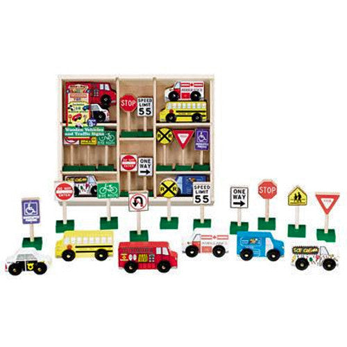 Six Wooden Vehicles, Nine Traffic Signs