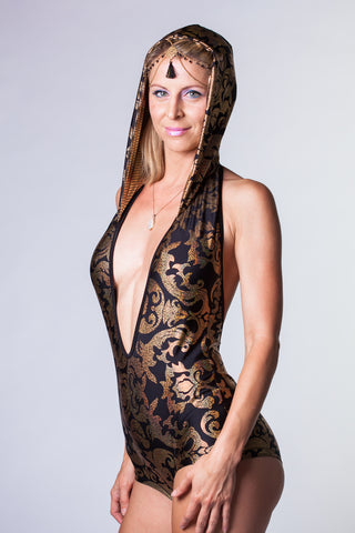 Vixen Onesie - Black and Gold Damask Print