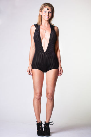 Vixen Onesie - Black Striped Velvet