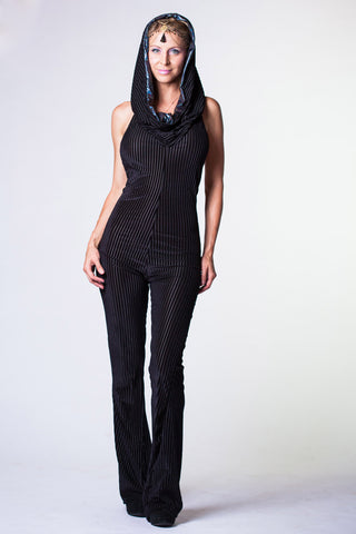 Sorceress Onesie - Black Striped Velvet