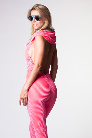 Sorceress Onesie - Pink Striped Velvet