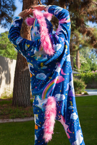 Fuzzy Adult Animal Onesie - Unicorn