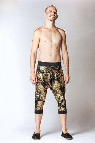Kick Drop Crotch Pants - Black and Gold Fireworks