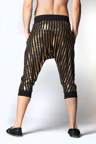 Kick Drop Crotch Pants - Black and Gold Stripe