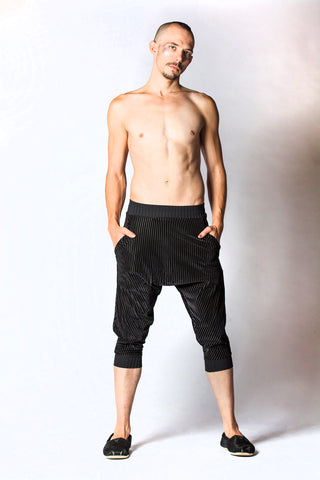 Kick Drop Crotch Pants - Black Velvet Stripe