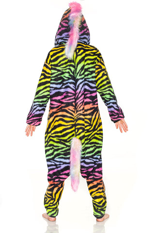 Fuzzy Adult Animal Onesie - Neon Zebra