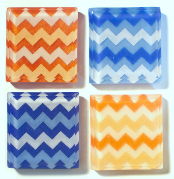 Geometric blue and orange chevron soaps by Soapso