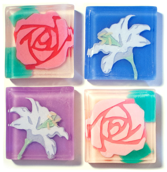 Handmade floral rose and iris soaps for gardener gifts - Soapso