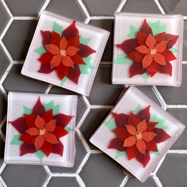 Poinsettia soaps - Christmas gift from Soapso