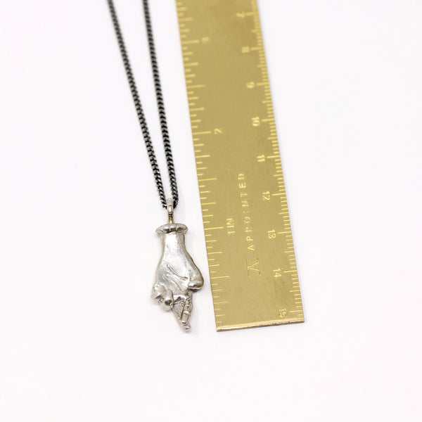 Fingers Crossed Hand Pendant - Silver (h102)