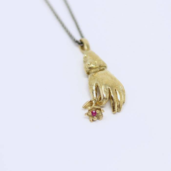 Ruby Flower & Hand Pendant - Bronze (h103)
