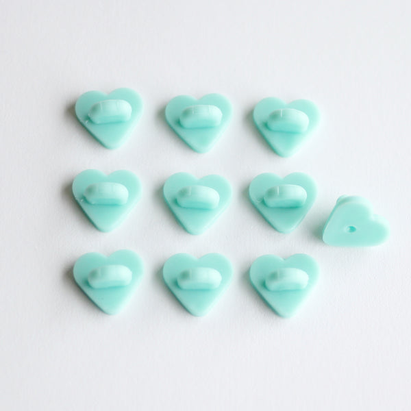 Mint Heart Rubber Pin Backs (Set of 10)