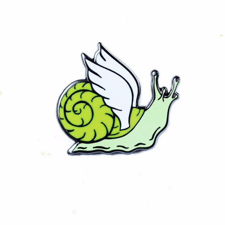 Winged Snail Enamel Pin