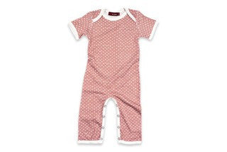 Short Sleeve Romper - Rose/Cream Dots