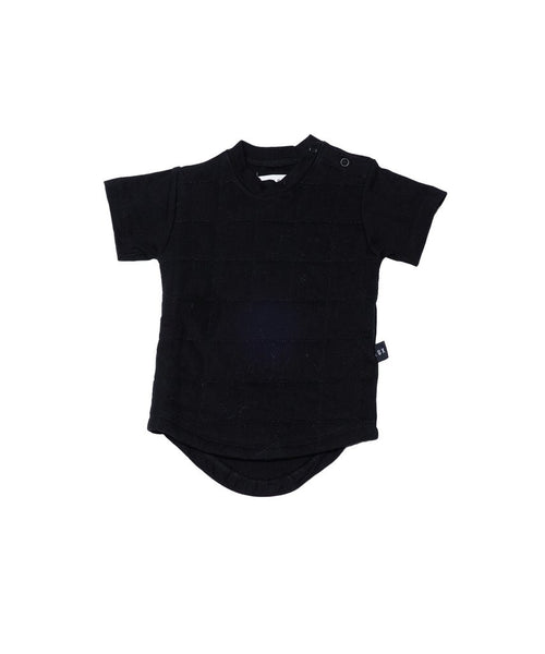 Quilted Drop Back Tee - Black