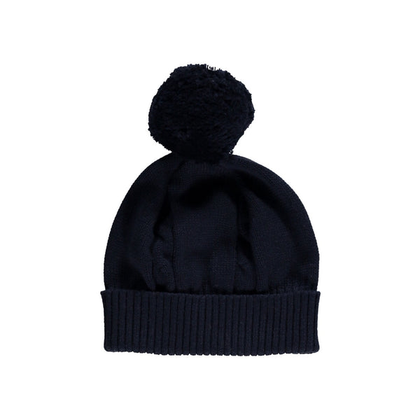 Fuzzy Cable Knit Bobble Hat - Navy