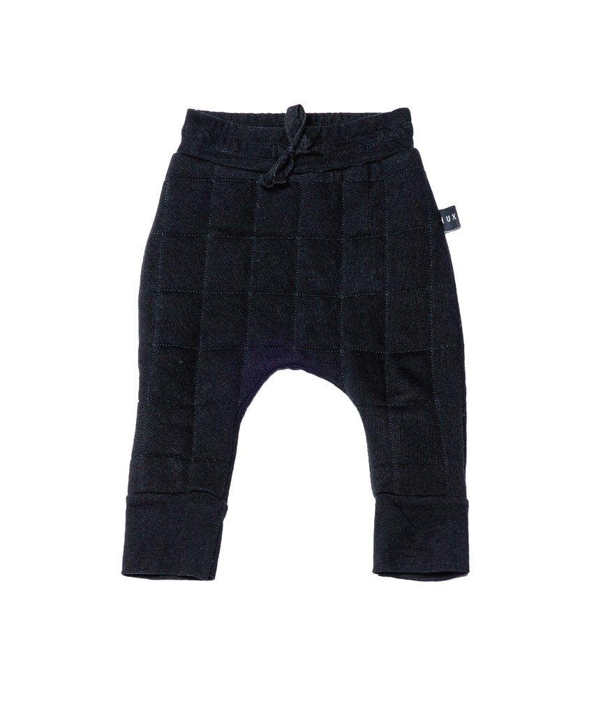 Quilted Fleece Drop Crotch Pants - Black