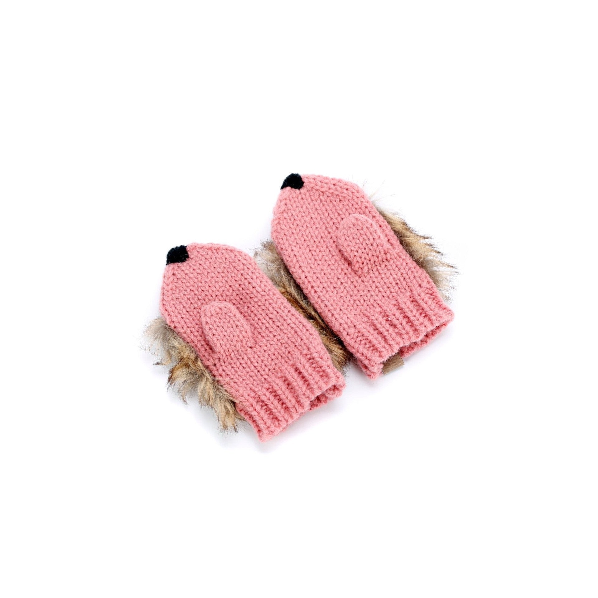 Faux Fur Hedgehog Mittens - Rose