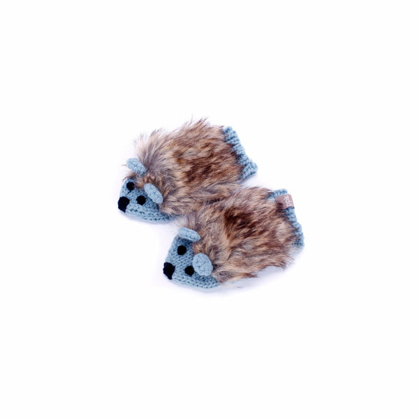 Faux Fur Hedgehog Mittens - Frost Blue