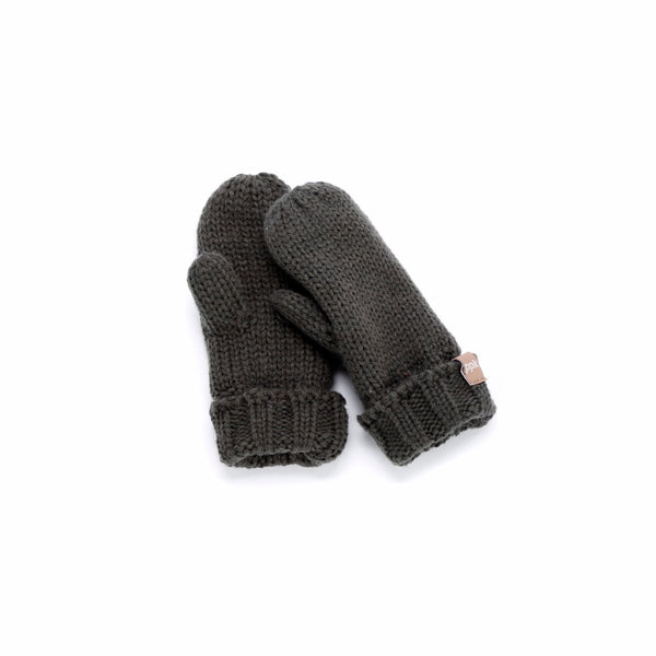 Solid Fold Up Edge Mittens - Charcoal Grey