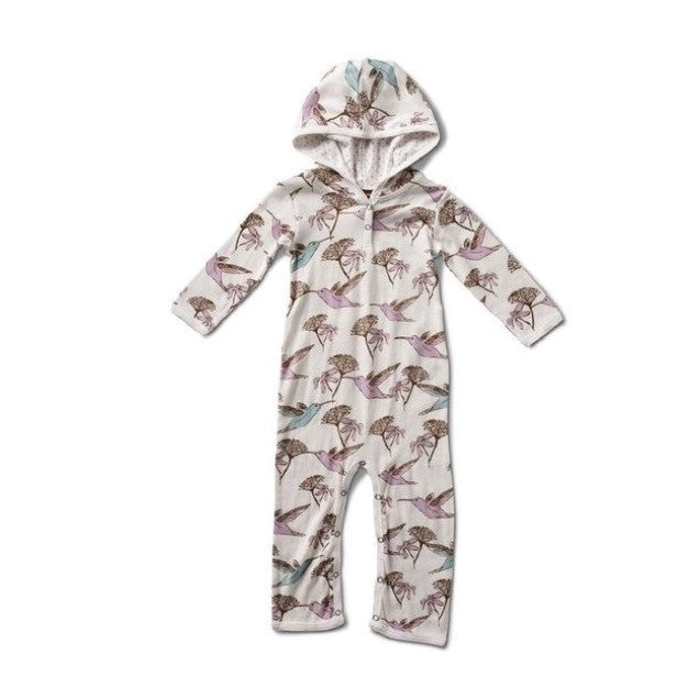 Long Sleeve Hooded Romper - Hummingbird