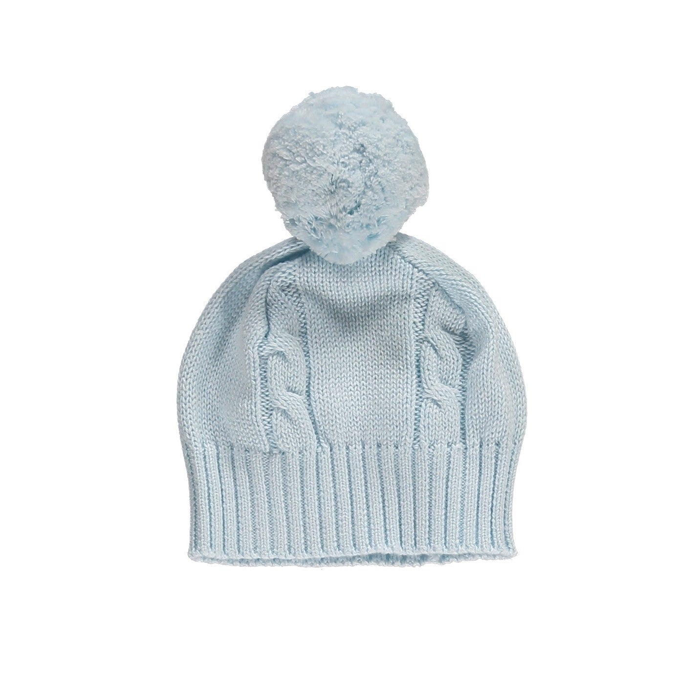 Fuzzy Cable Knit Bobble Hat - Pale blue