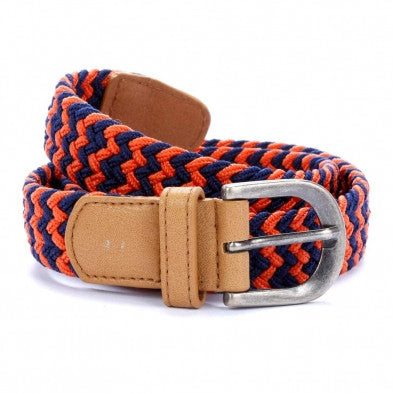 Woven Belt - Orange/Navy