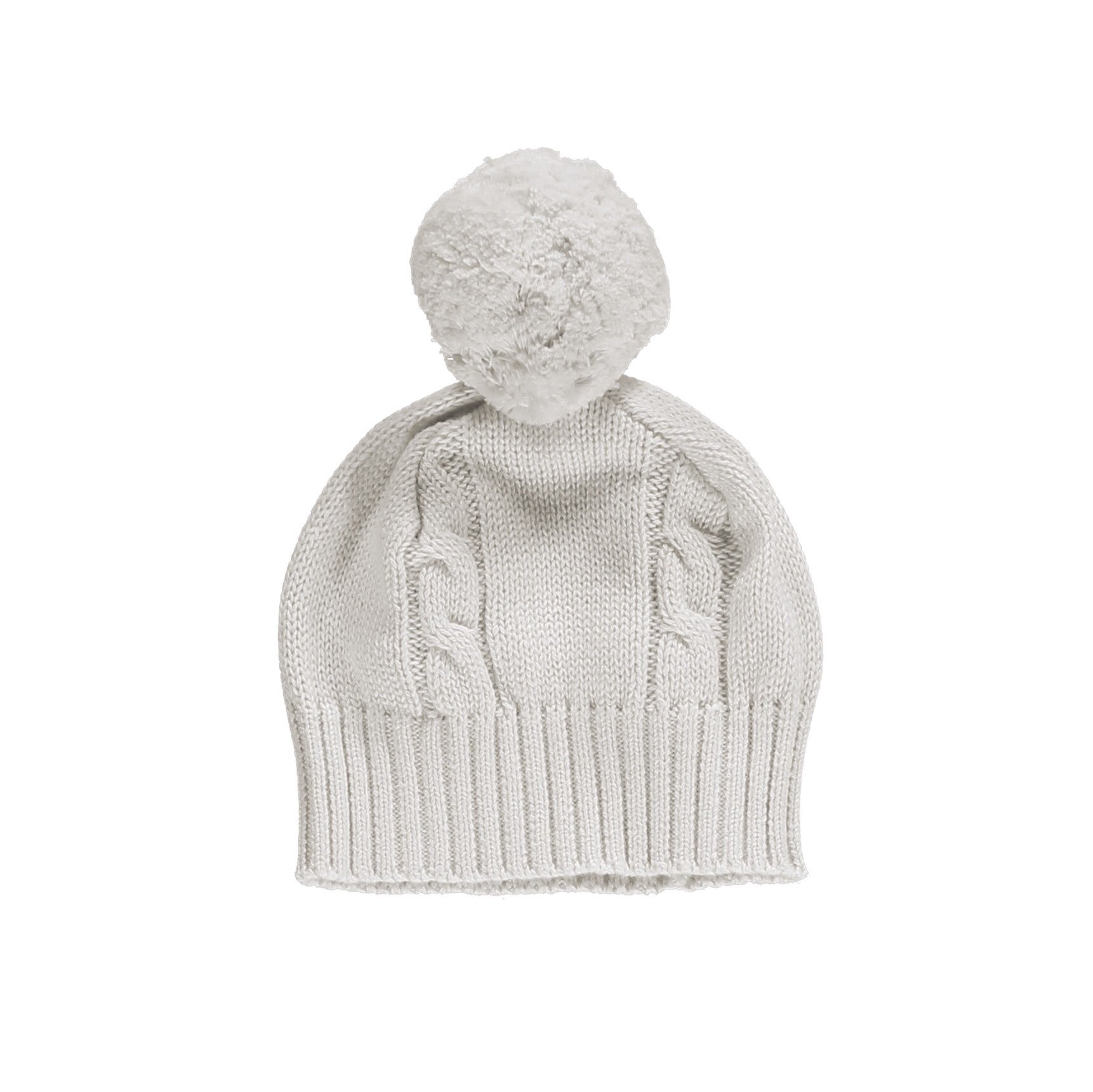 Fuzzy Cable Knit Bobble Hat - Ivory