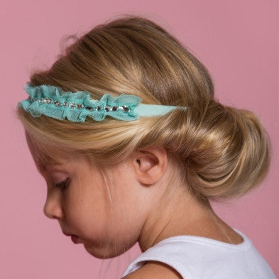 Lace Rhinestones Headband - Mint