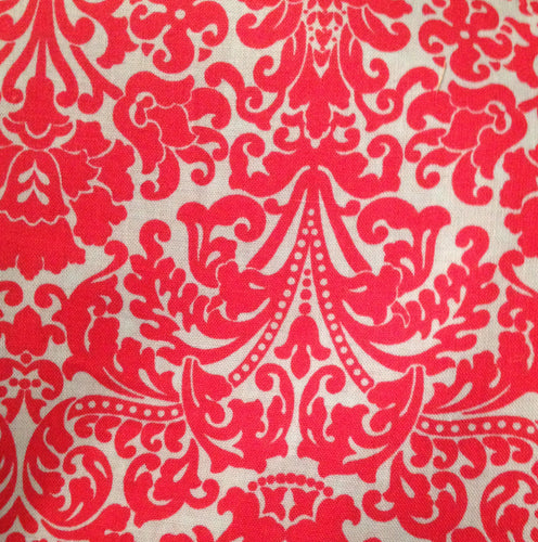 Damask: Cherry on Light Blue