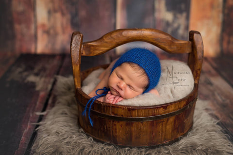 Bright Vibrant Blue Mohair Bonnet - Newborn Photo Prop - Knit Photography Props by Double the Stitches