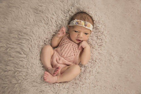 Knit Baby Girl Romper with Tulip Lace Design
