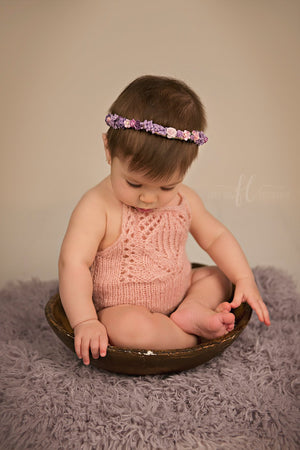 Knit Tulip Lace Romper - Sitter Romper - Milestone Photo Prop - Knit Photography Props by Double the Stitches