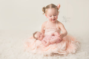 Knit Tulip Lace Romper - Baby Girl Romper - Newborn Photo Prop - Knit Photography Props by Double the Stitches