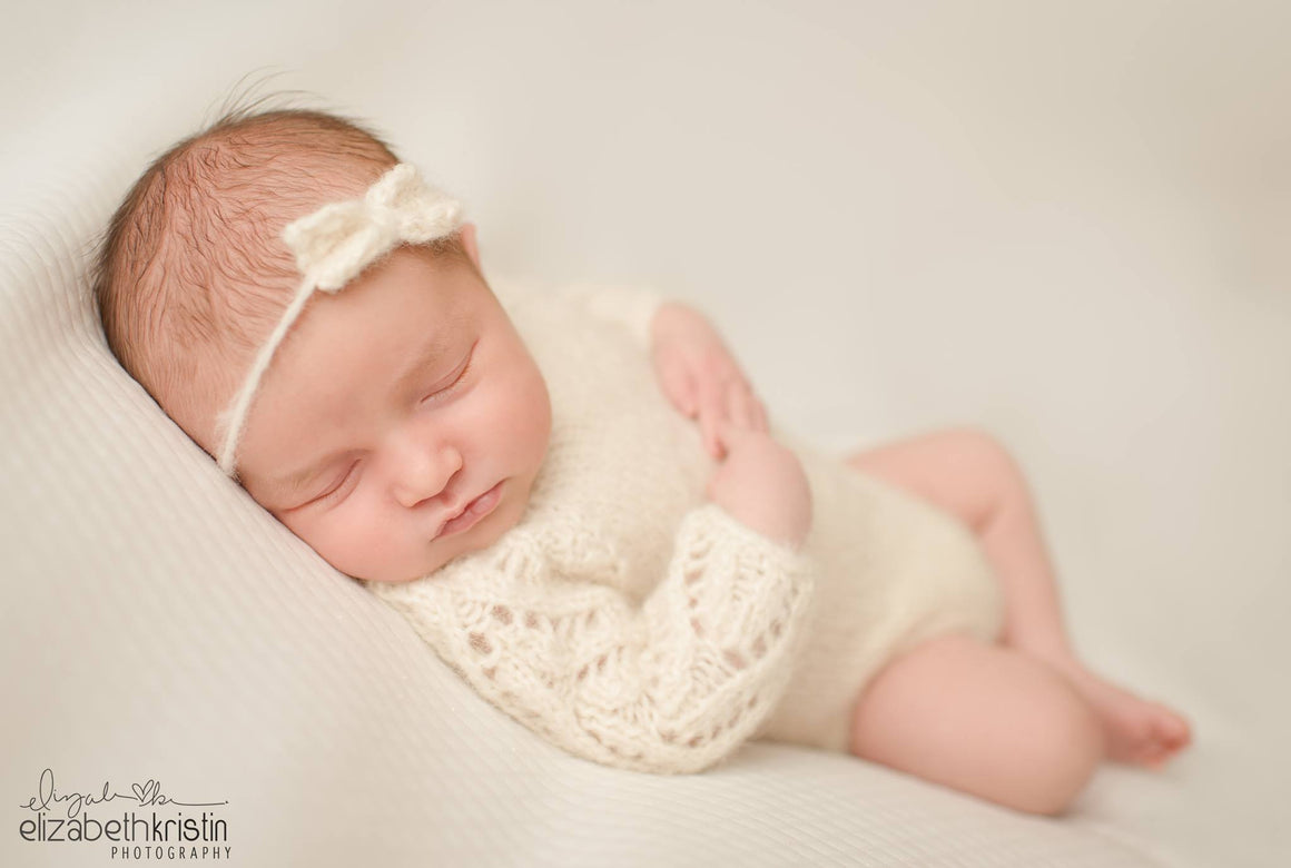 Lace Sleeve Romper - Hand Knit Alpaca Newborn Photography Prop - Knit Photography Props by Double the Stitches